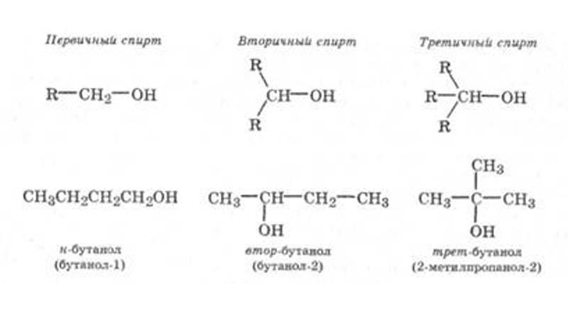 Разница между первичным и вторичным спиртом