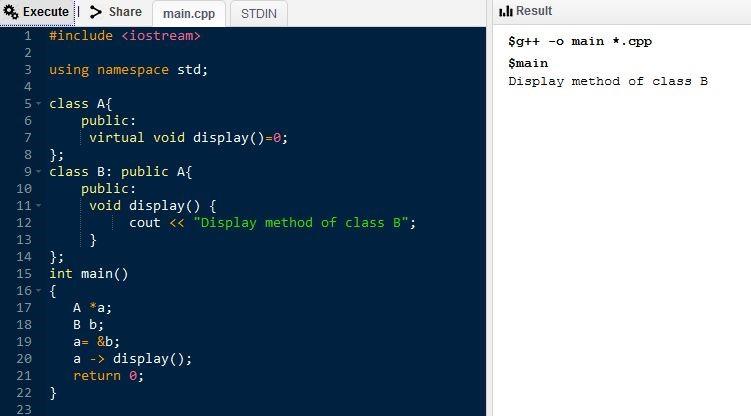 C ++ программа с чисто виртуальной функцией