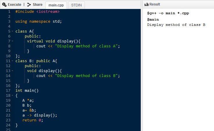 C ++ программа с виртуальной функцией