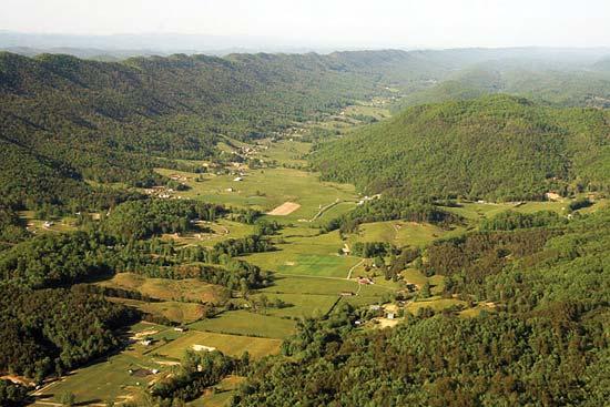 Хребетно-долинная топография в Аппалачском нагорье