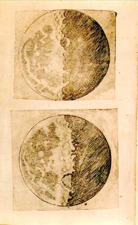 Иллюстрации Галилея о Луне от его Сидерея Нунция