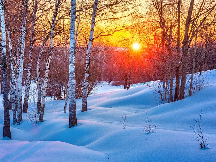 Красочный зимний закат