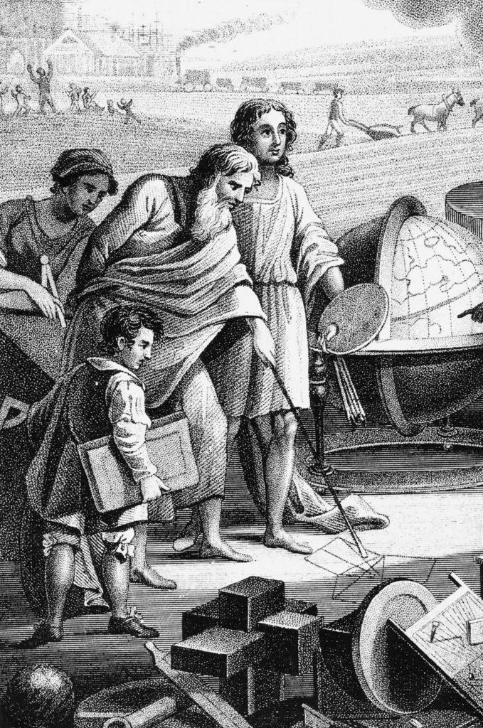Пифагор демонстрирует свою теорему Пифагора на песке с помощью палки
