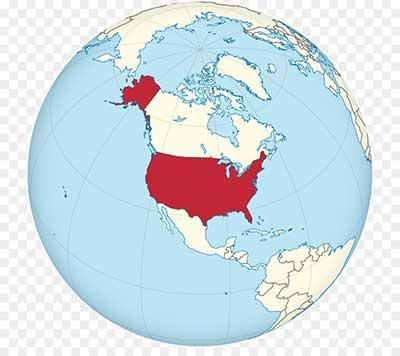 Соединенные Штаты на глобусе