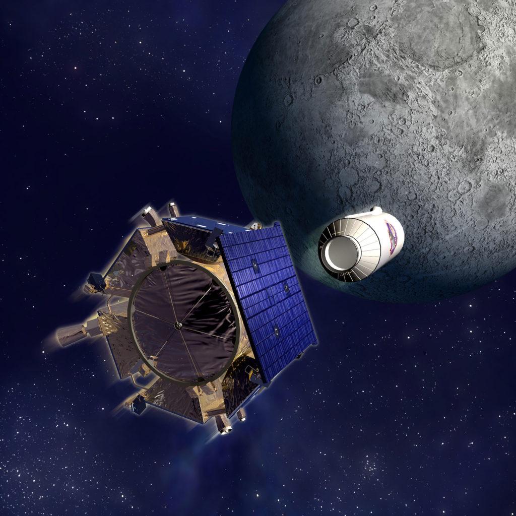 Спутник наблюдения и обнаружения лунного кратера (LCROSS) 9 октября 2009 г. Художник представил спутник наблюдения за лунным кратером (LCROSS), приближающийся к поверхности Луны.НАСА / Northrup Grumman
