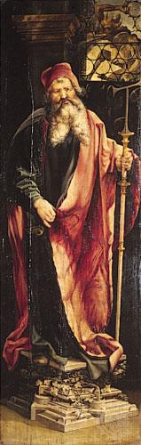 «Святой Антоний», правая панель «Алтаря Изенхайма» (закрытый вид), Матиас Грюневальд, 1515г.