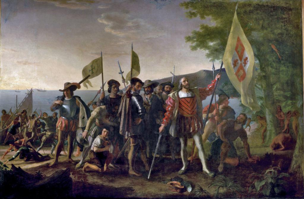 Высадка Колумба, холст, масло. Джон Вандерлин, 1846
