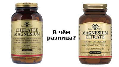 Разница между Хелатным магнием и Цитратом магния
