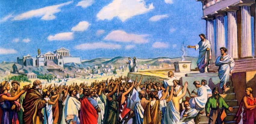 Публичное голосование в Древних Афинах - пример Прямой демократии