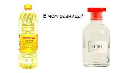 Разница между Технической Соляной кислотой и Серной кислотой