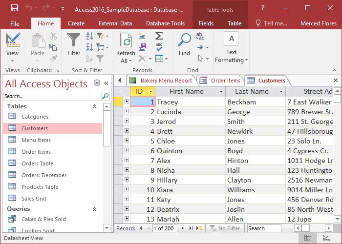 Microsoft Access - пример реляционной СУБД
