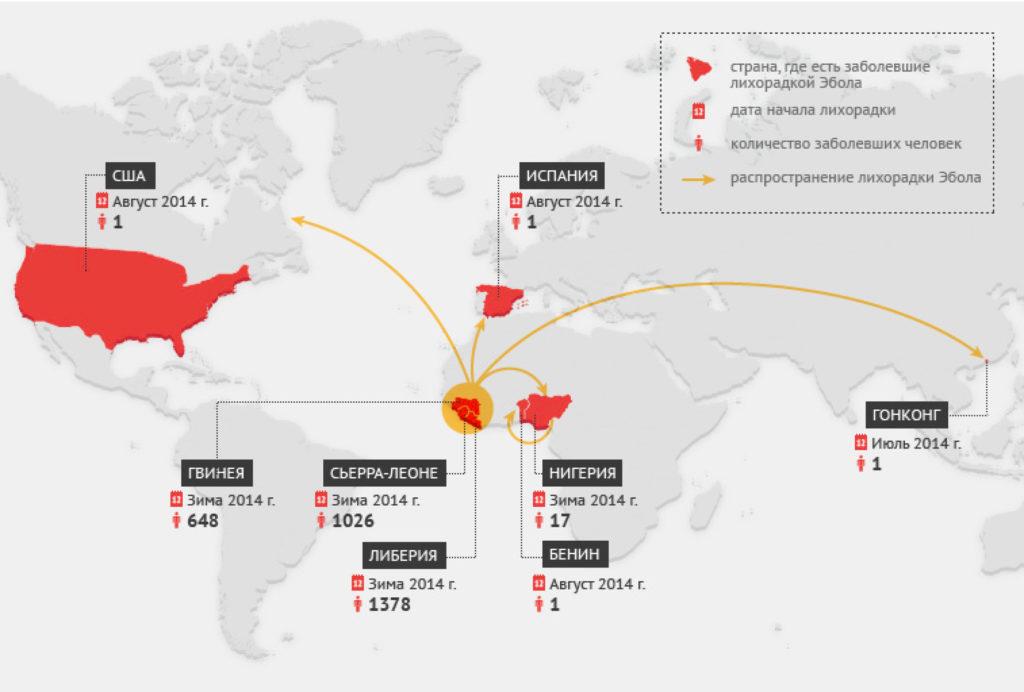 Карта Эпидемии Эболы 2014г. в Западной Африке