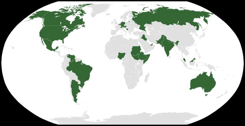 Федеративные государства (выделены зелёным)