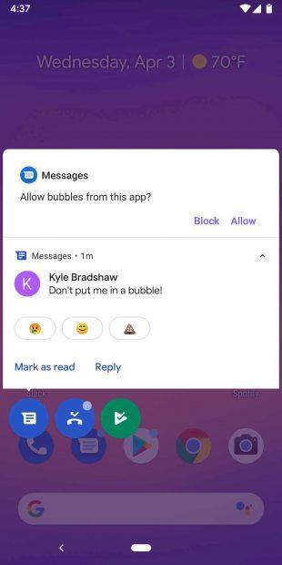 Чат Пузыри в Android 11