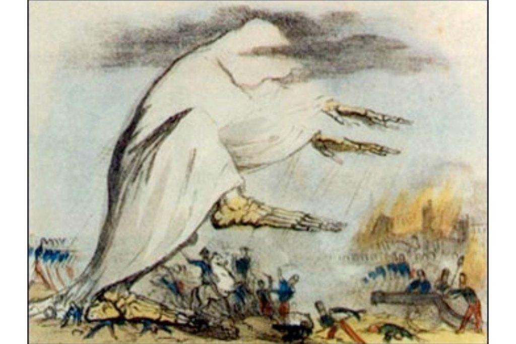 Изображение холеры в виде скелета в мантии, испускающей смертоносное черное облако