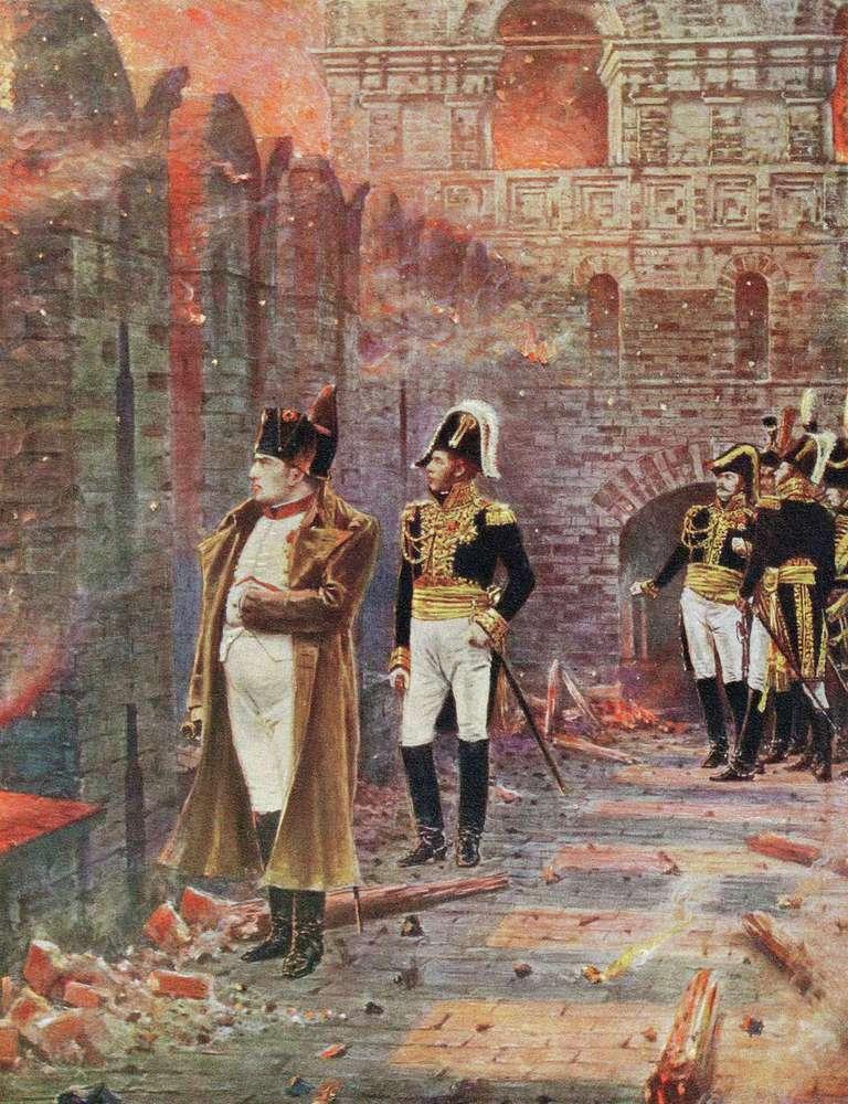 Наполеон наблюдает, как горит Москва в 1812 году.