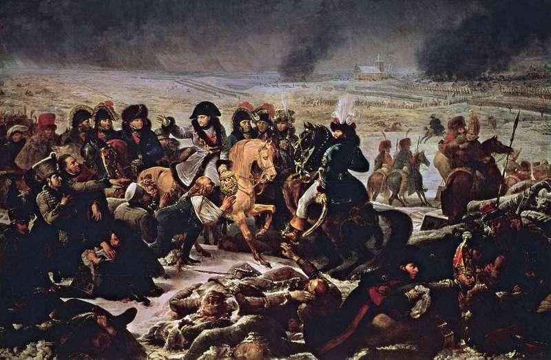 На этой масляной картине Антуана-Жана Гро, Наполеон изображен на поле битвы в Эйлау (в Пруссии) во время одной из наполеоновских войн (Война Третьей коалиции, 1807 г.)