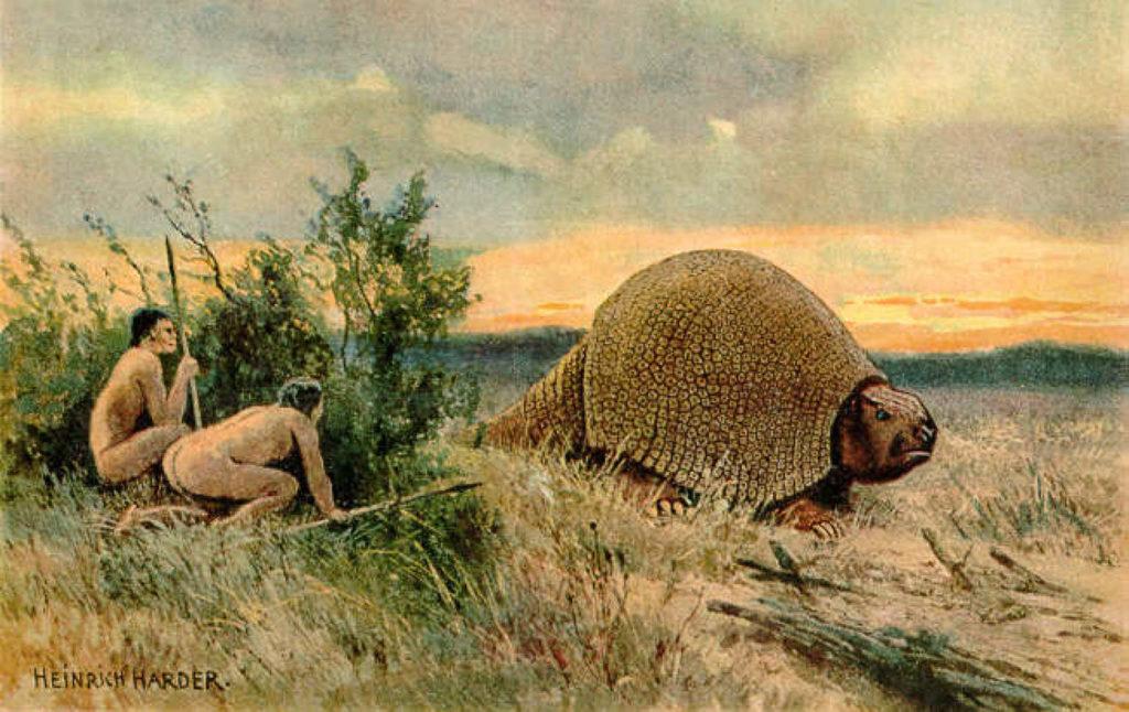 Охота древнего человека на глиптодона в эпуху палеолита