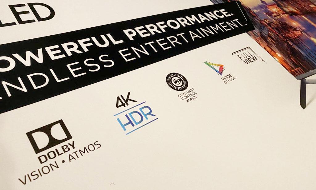 Пример логотипа Dolby Atmos на упаковке телевизора