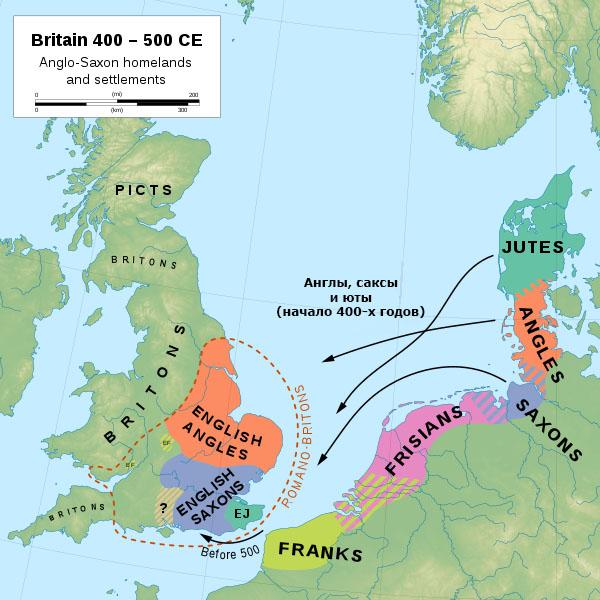 Распространение англов (показано красным), саксов (показано синим) и ютов (показано зелёным)