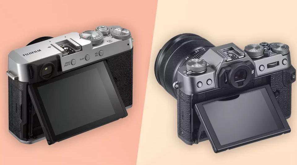 Fujifilm X-E4 и Fujifilm X-T30 - вид сзади