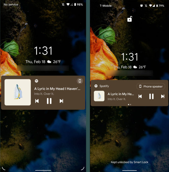 Панель быстрых настроек - Слева Android 12 предварительная версия для разработчиков №1, справа Android 11