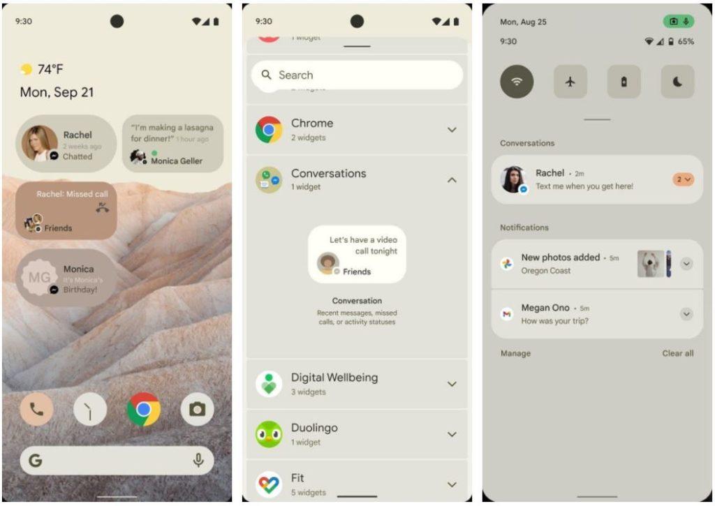 Предполагаемый вид пользовательского интерфейса Android 12