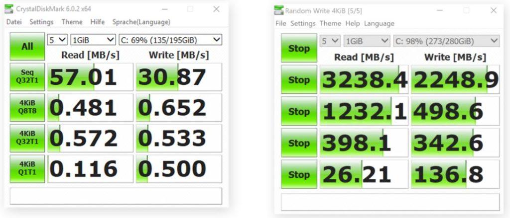 Разница в скорости между старым ноутбуком HP с жестким диском (слева) и новым MacBook Pro с SSD (справа)