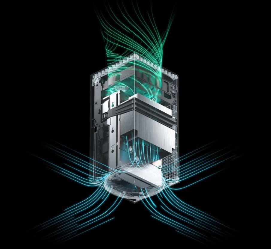 В верхней части Xbox Series X установлен вентилятор, выдувающий горячий воздух