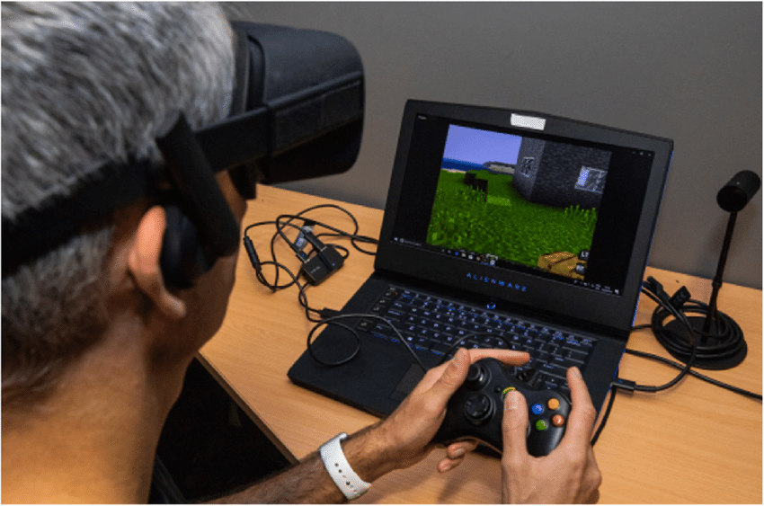 Minecraft VR с Oculus Rift CV1 и проводным контроллером Xbox