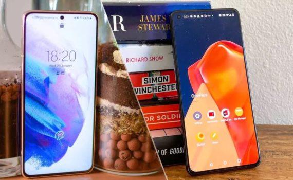 Galaxy S21 и OnePlus 9 - вид спереди