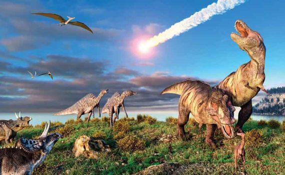 Исследователи сходятся во мнении, что астероид погубивший динозавров имел диаметр около 12 км упал на полуострове Юкатан и образовал кратер Чикшулуб