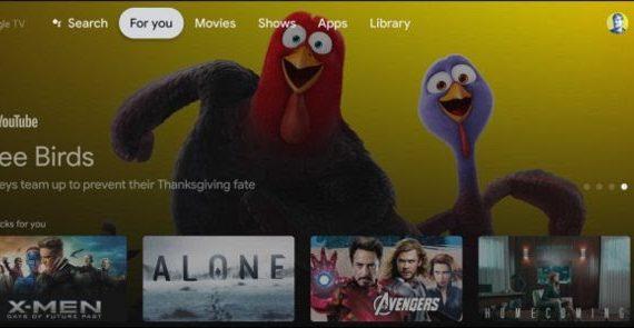 Главный экран Google TV