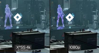 Суперсэмплинг XeSS производит масштабирование с 1080p до 4K, при этом качество картинки на уровне оригинального 4K