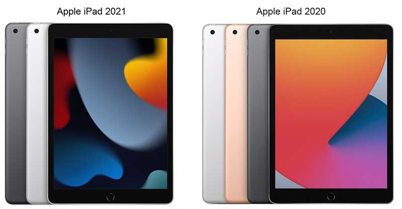 Цвета Apple iPad 2021 (9-го поколения) и iPad 2020 (8-го поколения)