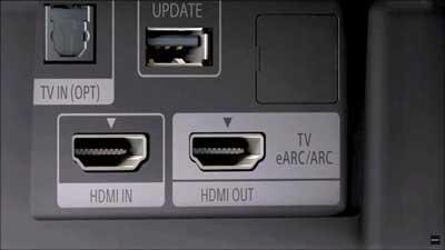 HDMI 2.1 с eARC на задней панели телевизора